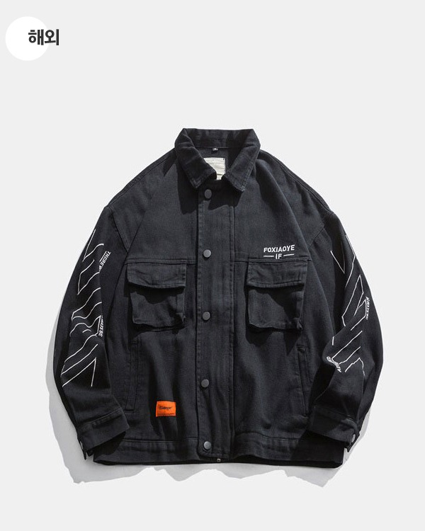 [해외]denim line jacket